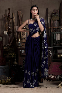 Aubergine Saree with Corset-Indian wear-pallavijaipur.com