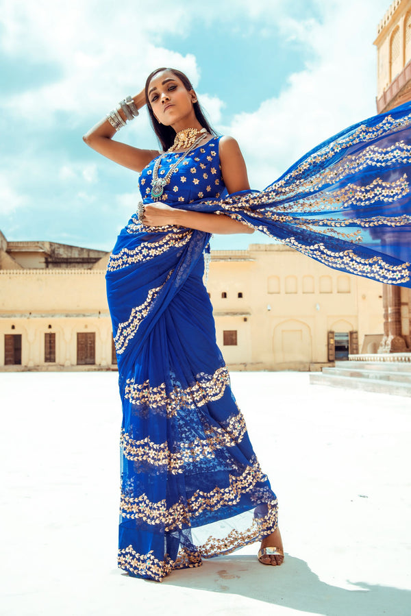 Royal Blue Scallop Silk Saree-Indian wear-pallavijaipur.com