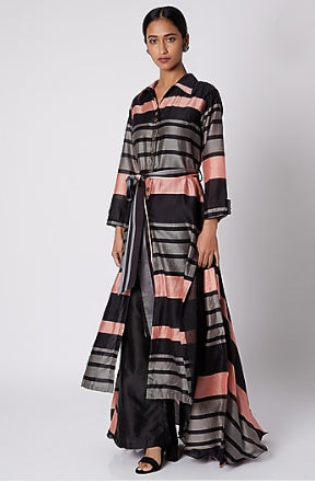 Salmon Pink Striped Long Jacket with Black Culottes