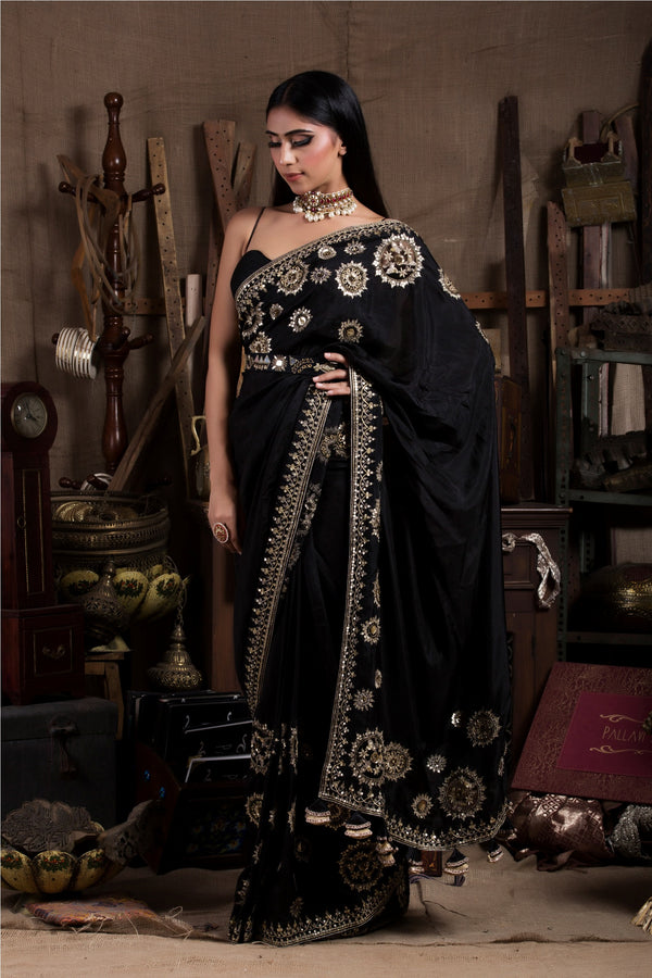 Black Saree with Corset-Indian wear-Pallavi Jaipur