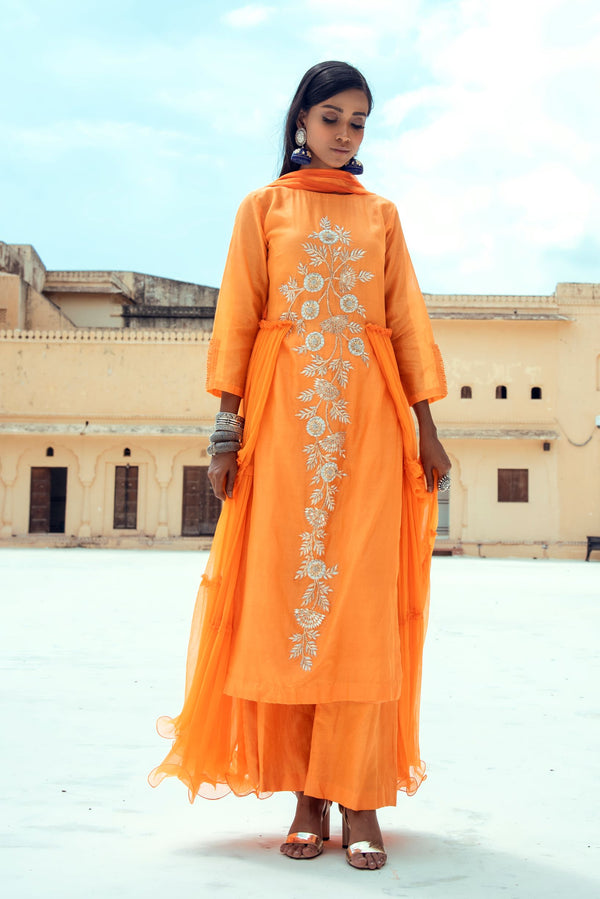 Saffron Orange Embroidered Kurta Set-Indian wear-Pallavi Jaipur