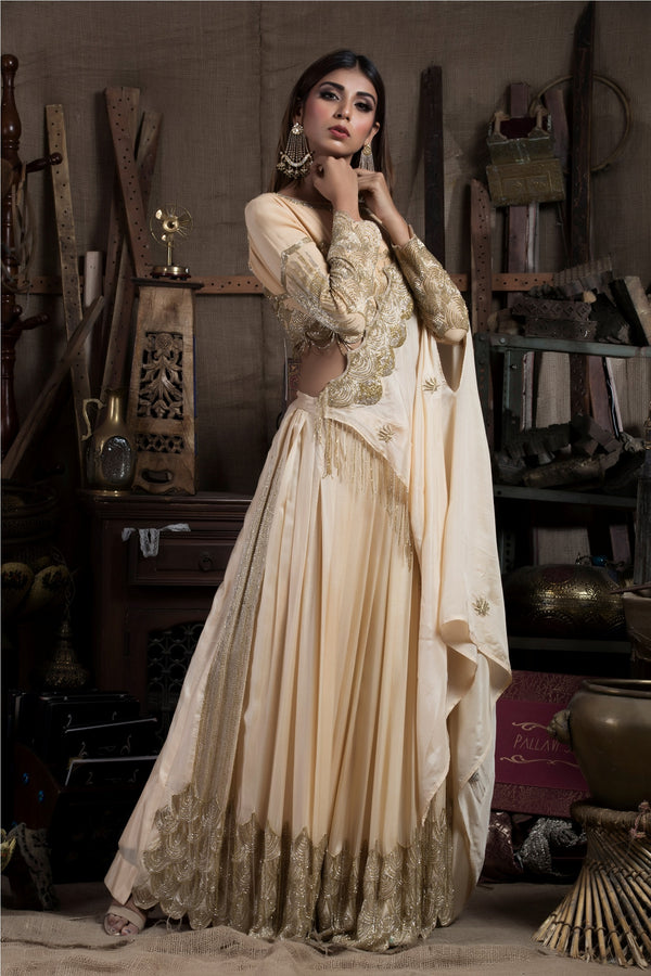 Beige Skirt Saree with Blouse-Indian wear-Pallavi Jaipur