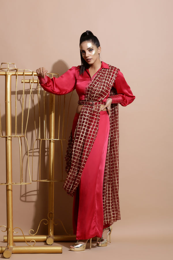Deep red Saree with Wrap Pants and Printed Belt-Indo Western-Pallavi Jaipur