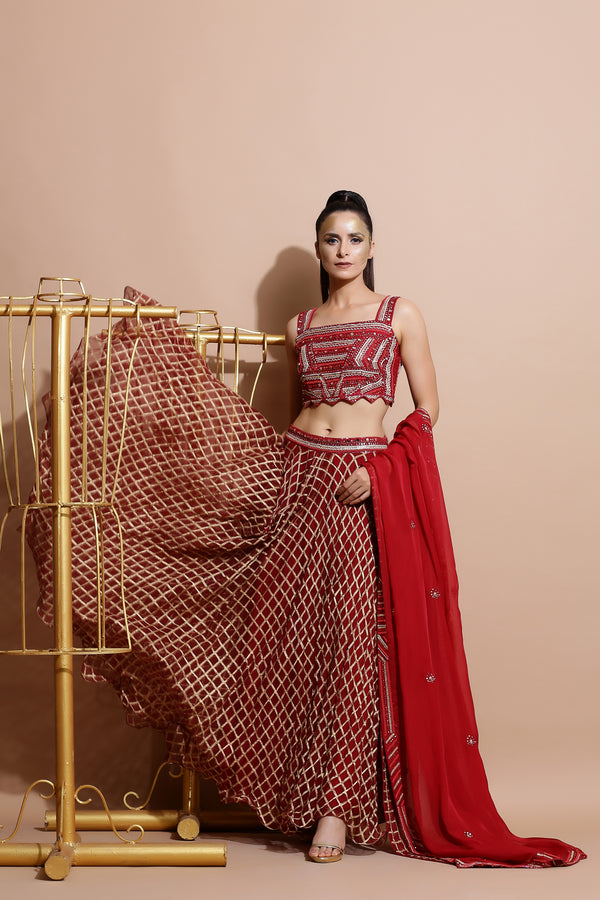 Deep Red Crop Top with Skirt, Dupatta and belt-Indo Western-Pallavi Jaipur