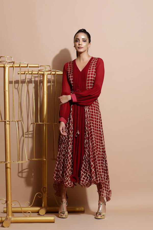 Deep red cubic print Dress-Indo Western-Pallavi Jaipur