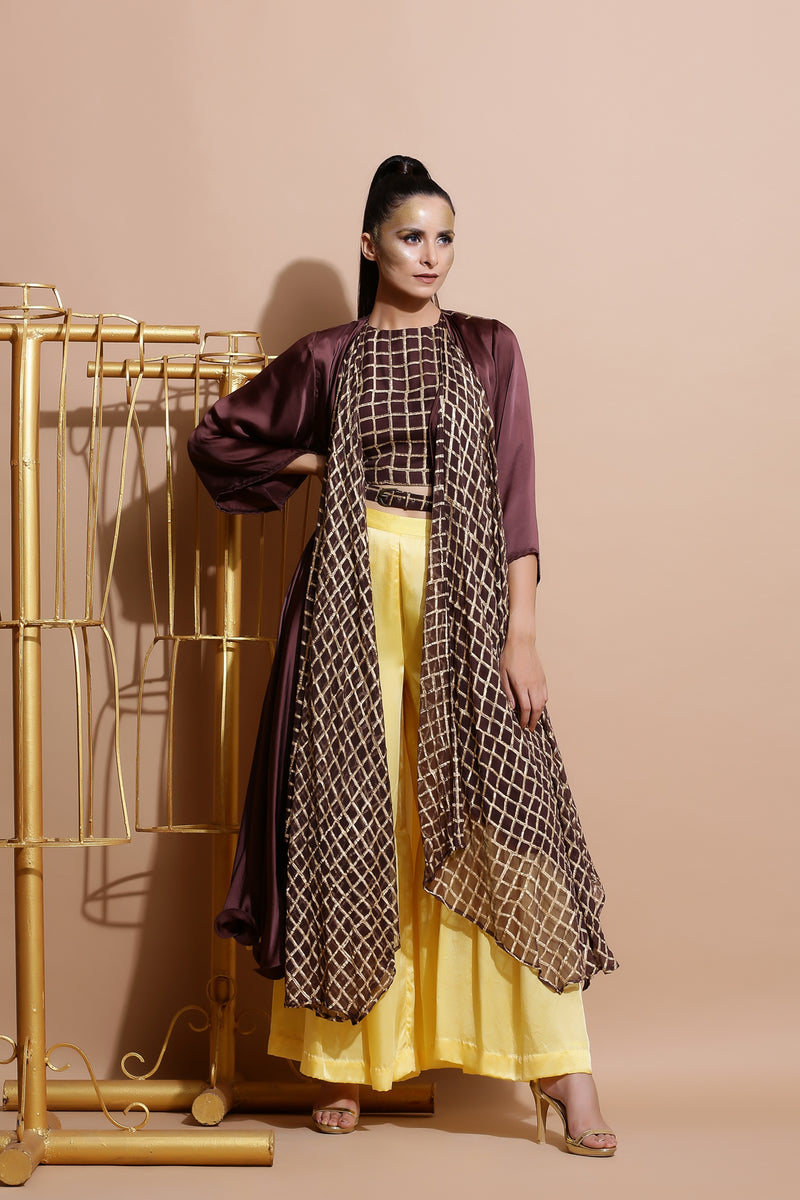 Brown Top with Frill Pants,Cape and a Belt-Indo Western-Pallavi Jaipur