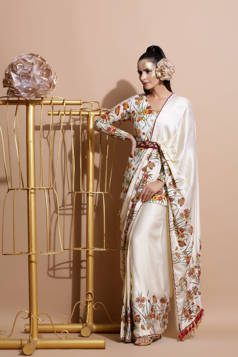 Cream Printed Coat with Saree and belt-Indo Western-Pallavi Jaipur