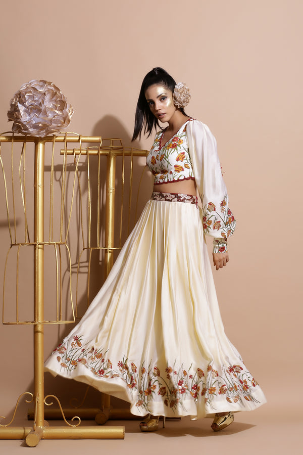 Cream Top with Skirt,Dupatta and Belt-Indo Western-Pallavi Jaipur