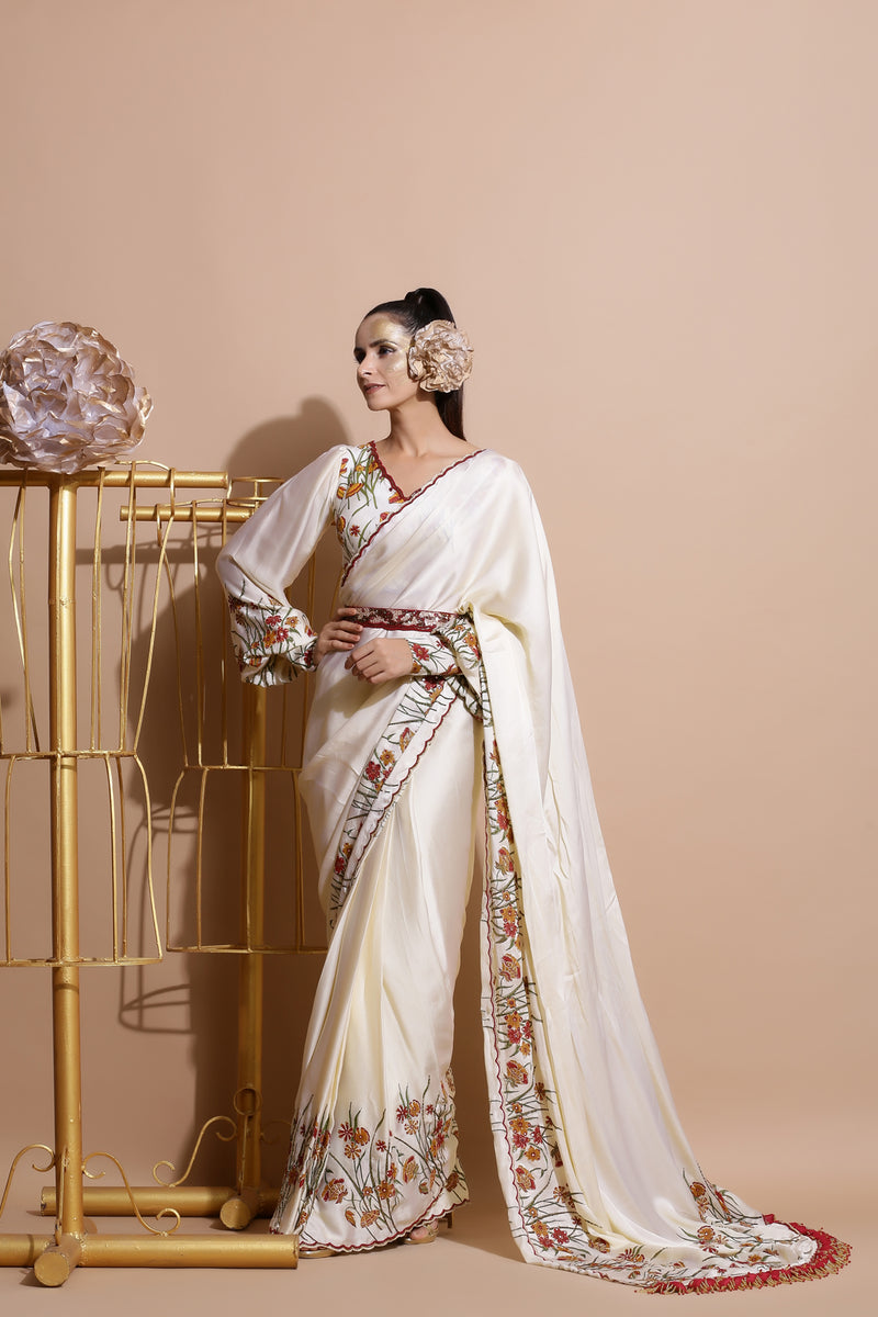 Cream Bishop sleeve Crop with Saree and belt-Indo Western-Pallavi Jaipur