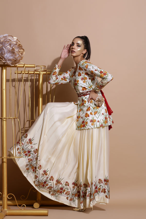 Cream Printed Coat with Skirt and Belt-Indo Western-Pallavi Jaipur