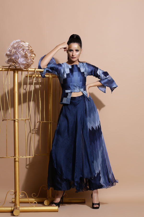 Navy Peplum Top with Drape Pants-Indo Western-Pallavi Jaipur