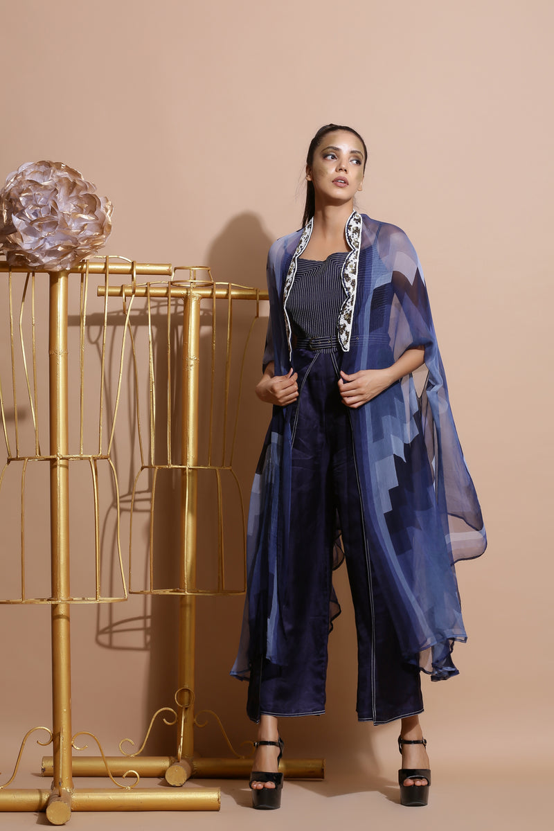 Navy Blue Jumpsuit with Belt and Cape-Indo Western-Pallavi Jaipur