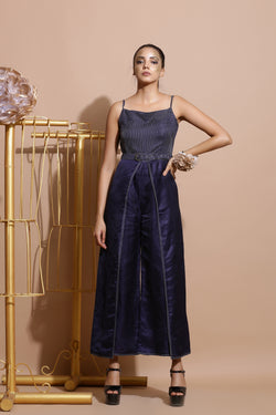 Navy Blue wrap Jumpsuit with belt-Indo Western-Pallavi Jaipur