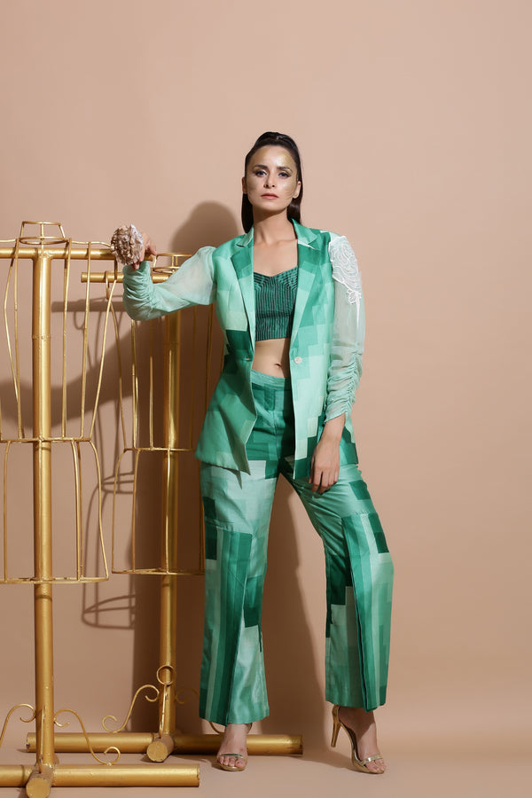 Green Printed Coat with Culottes and Top-Indo Western-Pallavi Jaipur