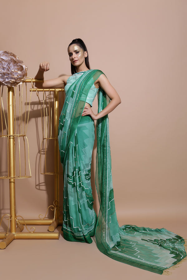 Green Embroidered Chiffon Saree-Indo Western-Pallavi Jaipur