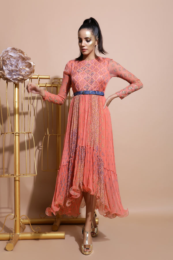Salmon midi Dress with Printed Belt-Indo Western-Pallavi Jaipur