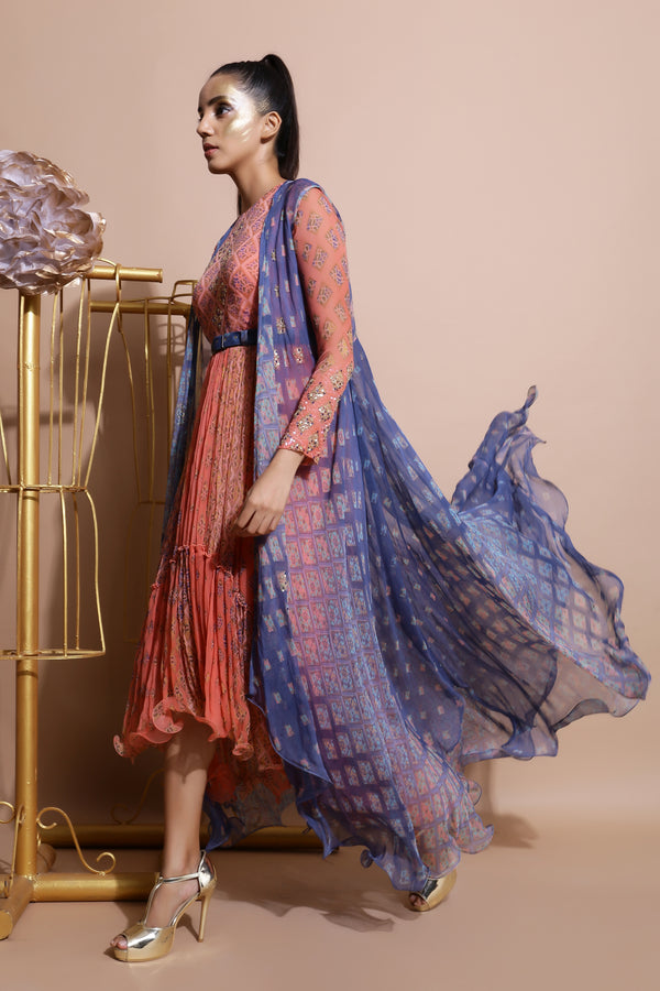 Salmon Midi Dress with Printed Cape and Belt-Indo Western-Pallavi Jaipur