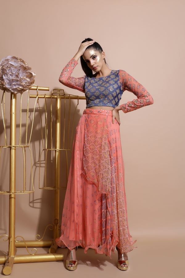 Indigo Blue Crop Top with Salmon Skirt-Indo Western-Pallavi Jaipur