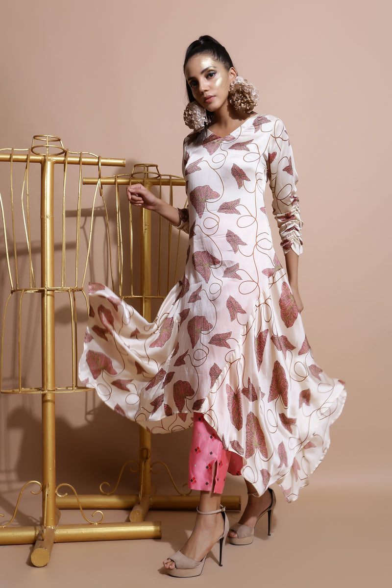 Fawn Handkerchief Side Kurta with Pants-Indo Western-Pallavi Jaipur