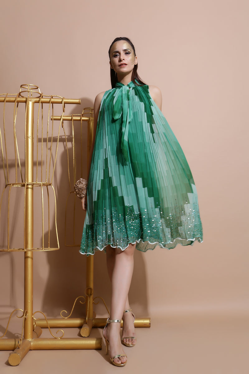 Green sequin Embroidered Dress-Indo Western-Pallavi Jaipur