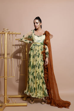 Yellow Printed dress with Dupatta and Belt-Indo Western-Pallavi Jaipur