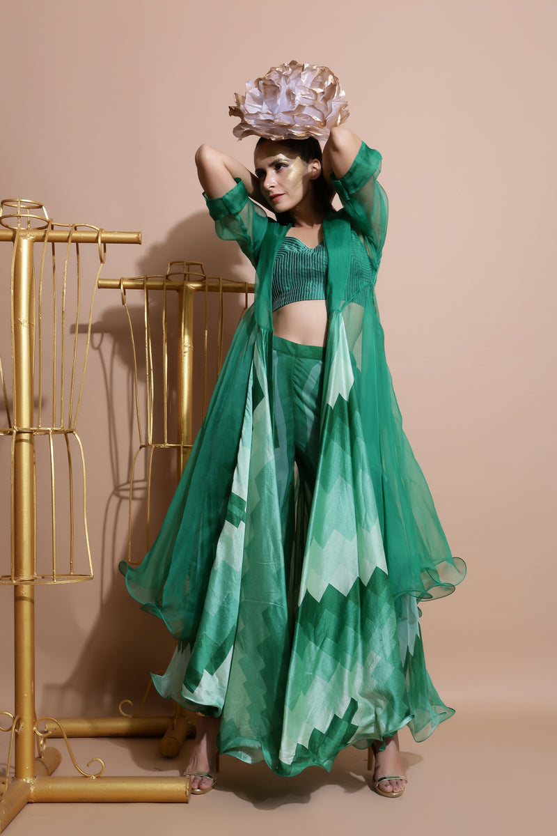 Green Printed Cape with Pants and Crop top-Indo Western-Pallavi Jaipur