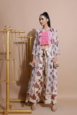 Fawn Cape With Wrap Pants and Crop Top-Indo Western-Pallavi Jaipur