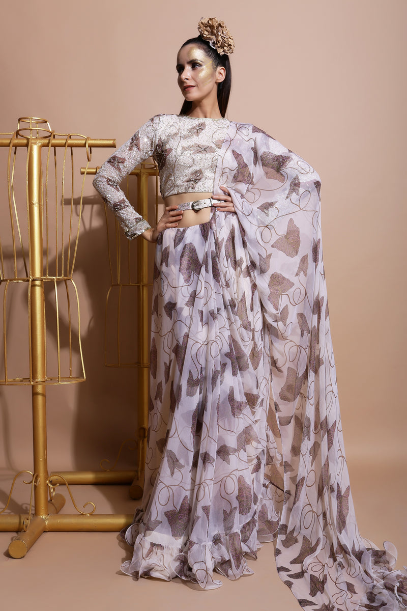 Fawn Frill Saree with Embroidered Blouse and Belt-Indo Western-Pallavi Jaipur