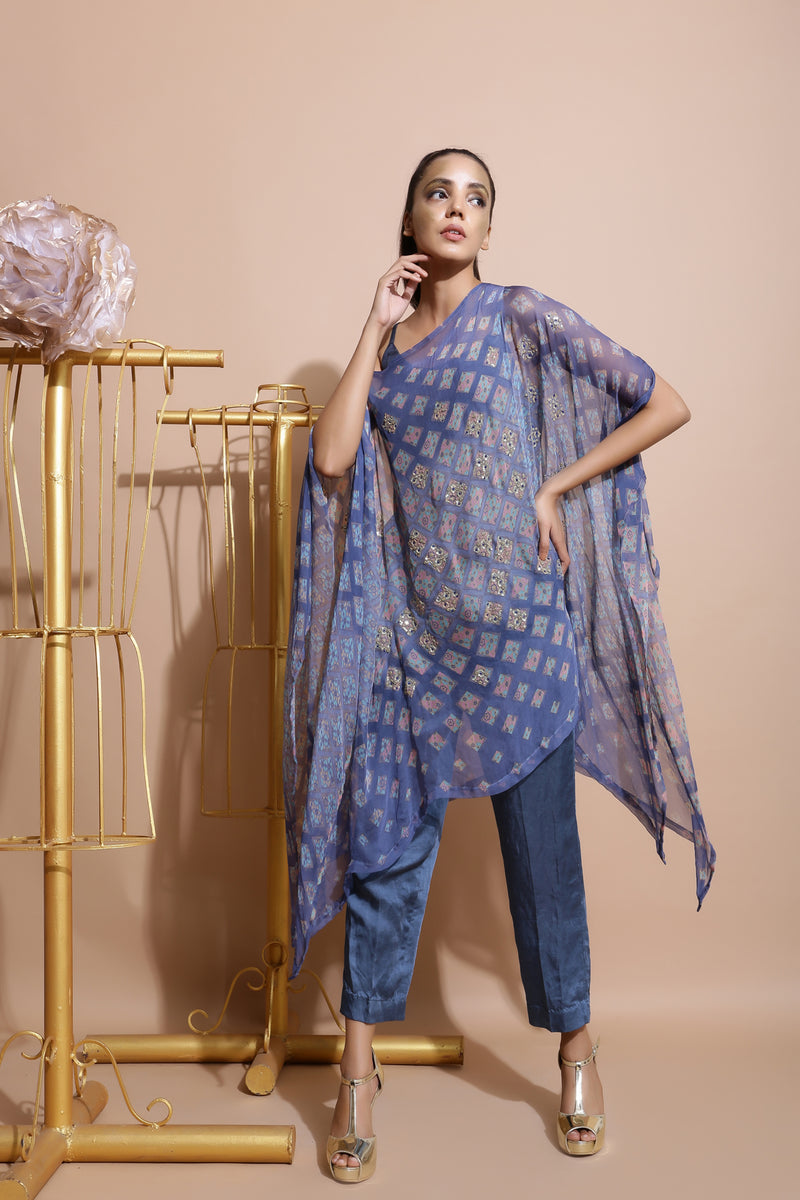 Indigo Blue Printed Cape with Pants and inner-Indo Western-Pallavi Jaipur