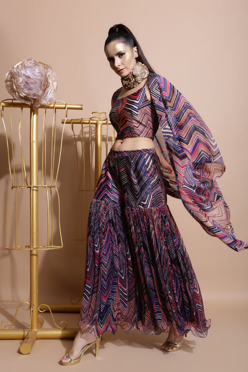 Navy sharara with crop and box cape