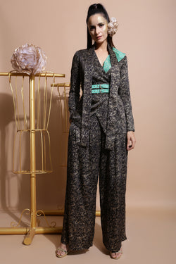 Black Splash Collar Coat with Pleated Culottes-Indo Western-Pallavi Jaipur