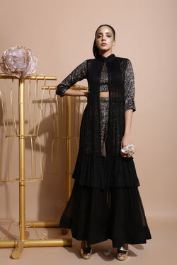 Black Splash Print Culottes with Cape and Belt-Indo Western-Pallavi Jaipur