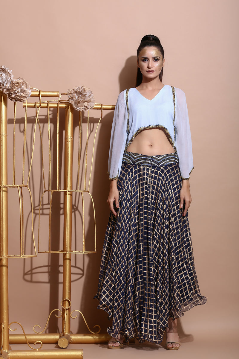 Navy Asymmetric Skirt with Embroidered Boho Top-Indo Western-Pallavi Jaipur