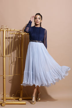 Navy and Sky Midi Dress with Belt-Indo Western-Pallavi Jaipur