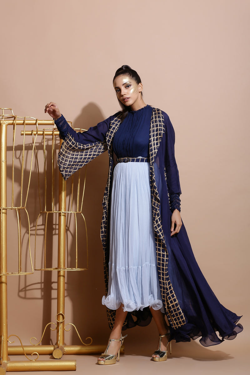 Navy and Sky Midi with long Jacket and Printed Belt-Indo Western-Pallavi Jaipur