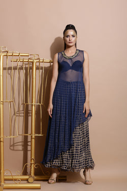Navy Printed Sharara with Asymmetric Tunic Top-Indo Western-Pallavi Jaipur