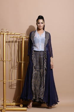 Navy Sharara with Sky Tunics and Cape-Indo Western-Pallavi Jaipur