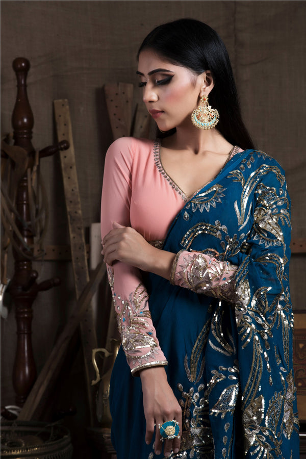 Teal Blue Saree with Skirt and Blouse-Indian wear-pallavijaipur.com