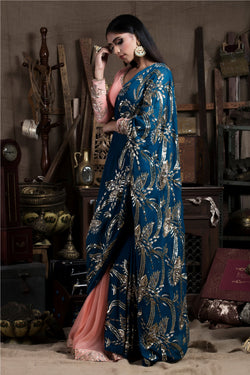 Teal Blue Saree with Skirt and Blouse-Indian wear-Pallavi Jaipur