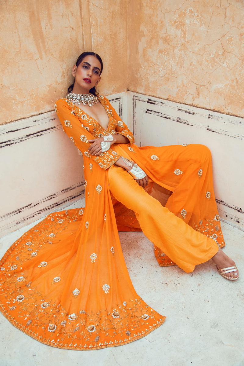 Orange V neck Kurta Set-Indian wear-Pallavi Jaipur