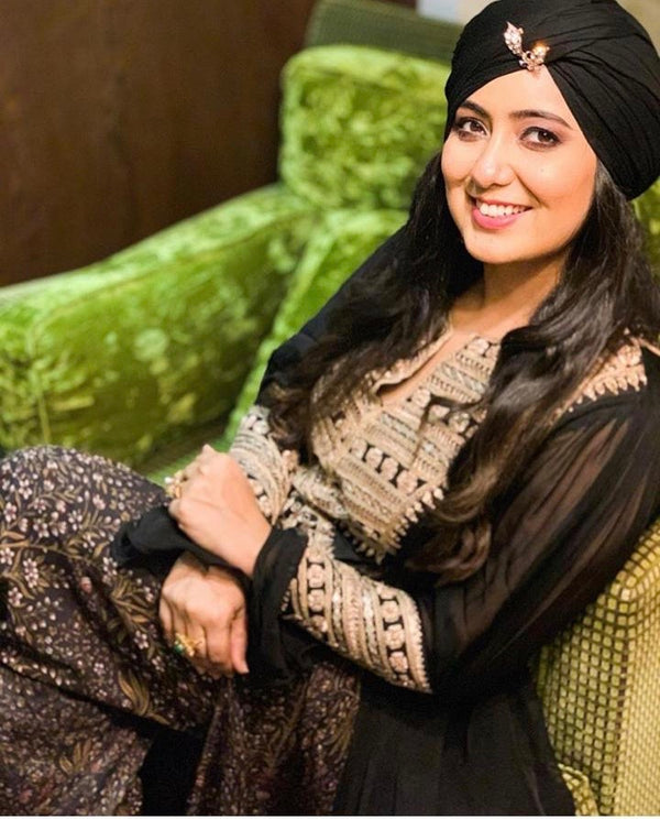 Harshdeep Kaur in Black Tunic Kurta and Pant-Indo Western-Pallavi Jaipur