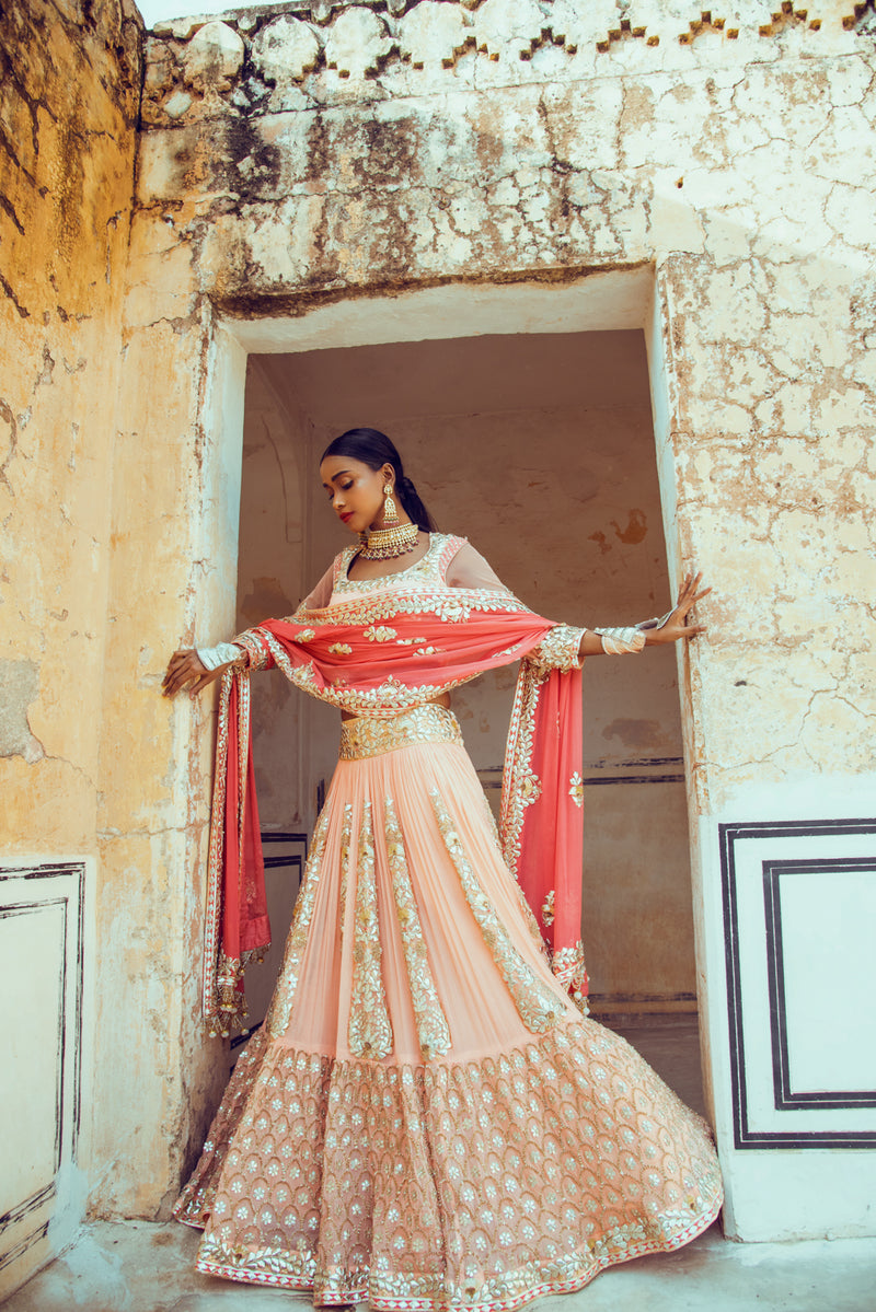 Peach Lehenga Set-Indian wear-Pallavi Jaipur