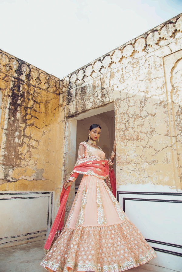 Peach 3D Gota Embroidered Lehenga Set