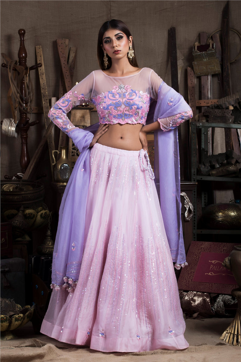 Lilac and Pink Lehenga Set-Indian wear-Pallavi Jaipur