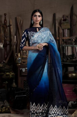 Blue Ombre Shaded Gota Saree Blouse Set