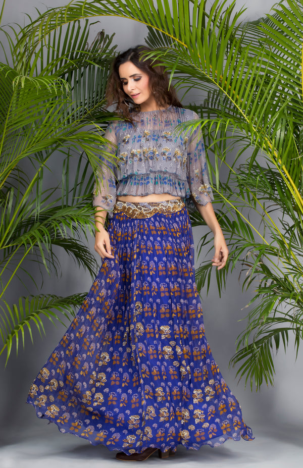 Grey Floral Boho Top with Blue Printed Skirt-Western Wear-pallavijaipur.com