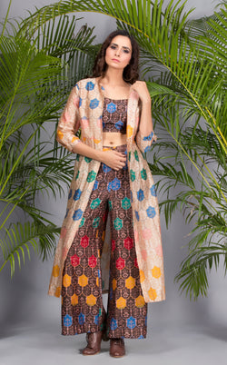 Brown Printed Top with Culottes and Jacket-Indo Western-Pallavi Jaipur