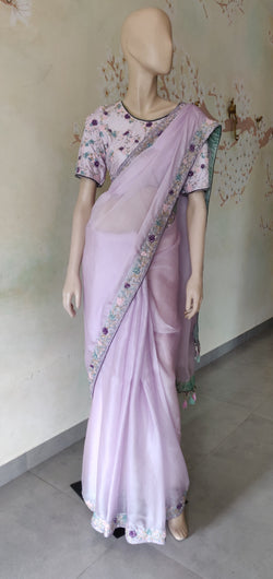 Lilac embroidered organza saree with blouse
