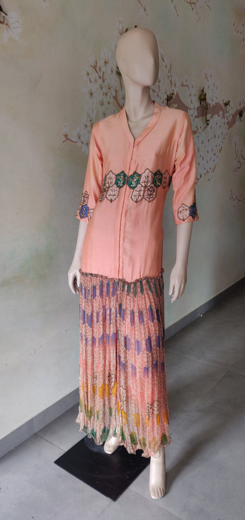 Peach printed tunic set