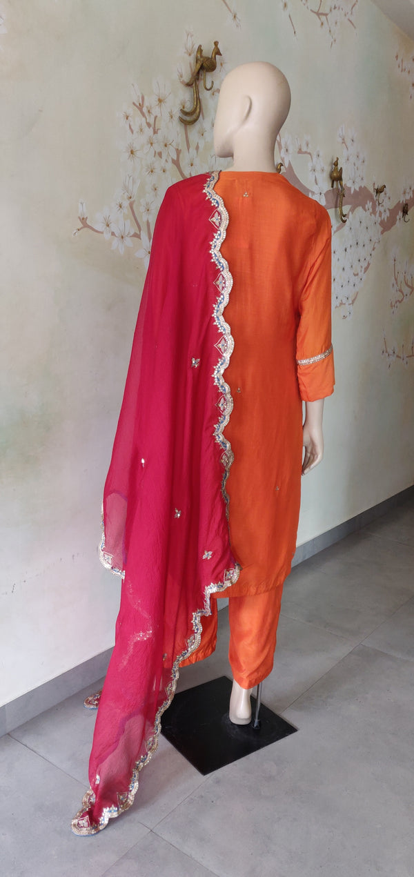 Orange Embroidered Kurta Set